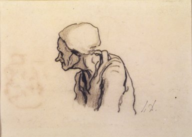 Honoré Daumier (French, 1808-1879). Head of an Old Woman in Profile (Tête de vieille femme de profil à gauche) [recto]; Study of Heads (Étude de têtes) [verso], late 1850s. Conté crayon on wove paper (recto); pen and ink over conté crayon (verso), Sheet: 5 1/8 x 7 in. (13 x 17.8 cm). Brooklyn Museum, 40.527a-b