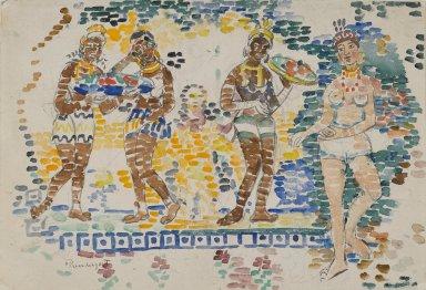 Maurice Brazil Prendergast (American, 1858-1924). Five Figures, ca. 1910-1913. Watercolor, Sheet: 14 3/4 x 20 3/4 in. (37.5 x 52.7 cm). Brooklyn Museum, Dick S. Ramsay Fund, 40.54a