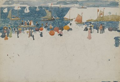 Maurice Brazil Prendergast (American, 1858-1924). Beach Scene with Boats, ca. 1896-1897. Watercolor and graphite on wove paper, Sheet: 14 1/4 x 20 3/4 in. (36.2 x 52.7 cm). Brooklyn Museum, Dick S. Ramsay Fund, 40.54b