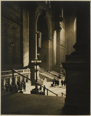 Dr. Drahomir Josef Ruzicka (American, born Czech Republic, 1870-1960). Pennsylvania Station, 1941. Toned chlorobromide print, Sheet: 13 7/8 x 10 15/16 in. (35.2 x 27.8 cm). Brooklyn Museum, Gift of the artist, 40.561