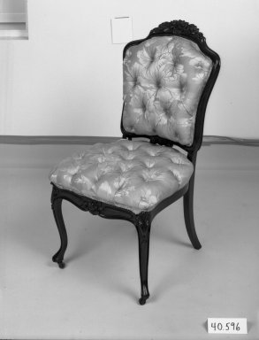 Elijah Galusha (American, ca. 1850). Side chair (one of a set of four), 1856. Rosewood, modern upholstery, 35 1/4 x 18 x 17 3/8 in. (89.5 x 45.7 x 44.1 cm). Brooklyn Museum, Dick S. Ramsay Fund, 40.596. Creative Commons-BY