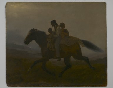 Eastman Johnson (American, 1824-1906). A Ride for Liberty -- The Fugitive Slaves (recto), ca. 1862. Oil on paperboard, 21 15/16 x 26 1/8 in. (55.8 x 66.4 cm). Brooklyn Museum, Gift of Gwendolyn O. L. Conkling, 40.59a-b