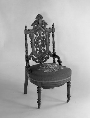 American. Side chair (reception) (Elizabethan-revival style). Mahogany, original upholstery, 38 3/4 x 19 3/4 x 20 1/8 in. (98.4 x 50.2 x 51.1 cm). Brooklyn Museum, Dick S. Ramsay Fund, 40.604. Creative Commons-BY
