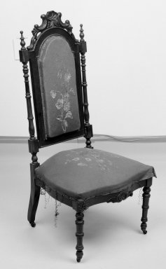 Sidechair (reception) (Elizabethan Revival style), 1856. Rosewood, original upholstery, 40 7/8 x 18 1/2 x 18 3/4 in. (103.8 x 47 x 47.6 cm). Brooklyn Museum, Dick S. Ramsay Fund, 40.605. Creative Commons-BY