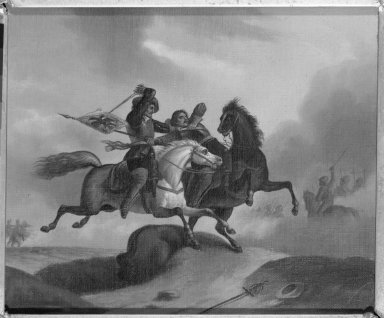 The Combat. Oil on canvas, 8 11/16 x 10 in.  (22.1 x 25.4 cm). Brooklyn Museum, Dick S. Ramsay Fund, 40.679