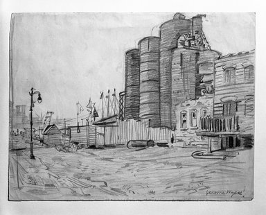 Jerome Myers (American, 1867-1940). Dock Scene, ca. 1920. Graphite on beige, medium thick, slightly textured wove paper, Sheet: 8 1/16 x 10 9/16 in. (20.5 x 26.8 cm). Brooklyn Museum, Gift of Mrs. George D. Pratt, 40.692. © Estate of Jerome Myers