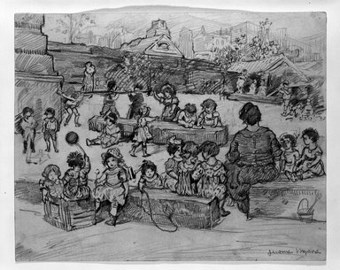 Jerome Myers (American, 1867-1940). Children Playing, ca. 1915. Graphite on beige, moderately thick, slightly textured wove paper, Sheet: 8 x 10 in. (20.3 x 25.4 cm). Brooklyn Museum, Gift of Mrs. George D. Pratt, 40.694. © Estate of Jerome Myers