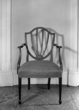 American. Hepplewhite Shield Back Armchair, 18th century. Damask seats, 38 1/4 x 22 1/2 x 19 3/4 in. (97.2 x 57.2 x 50.2 cm). Brooklyn Museum, Gift of Mrs. J. Amory Haskell, 40.866. Creative Commons-BY