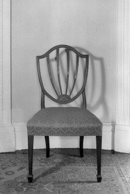 American. Shield Back Side Chair, 18th century. Damask, 38 1/2 x 21 3/4 x 18 1/4 in. (97.8 x 55.2 x 46.4 cm). Brooklyn Museum, Gift of Mrs. J. Amory Haskell, 40.873. Creative Commons-BY