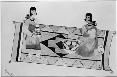 Oqwa Pi aka Abel Sanchez (Hopi Pueblo, Native American, 1889-1971). Two Women on a Rug, 1930-1940. Watercolor over graphite on wove paper, 9 13/16 x 14 1/4 in. (24.9 x 36.2 cm). Brooklyn Museum, Dick S. Ramsay Fund, 40.88. Creative Commons-BY