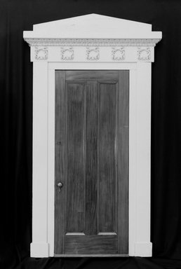 Door and Doorframe, ca. 1835. Mahogany, painted pine, metal hardware, 120 1/8 x 72 13/16 x 5 1/4 in. (305.1 x 184.9 x 13.3 cm). Brooklyn Museum, Gift of the Young Men's Christian Association, Flatbush Branch, 40.931.2a-b. Creative Commons-BY