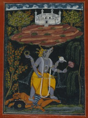 Indian. Varaha Rescuing the Earth, page from an illustrated Dasavatara series, ca. 1730-1740. Opaque watercolor, gold, and silver on paper, Sheet: 10 1/2 x 8 1/8 in. (26.7 x 20.6 cm). Brooklyn Museum, Brooklyn Museum Collection, 41.1026