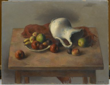 Robert Brackman (American, 1896-1980). Still Life with Discarded Pitcher, ca. 1940. Oil on canvas, 28 1/4 x 36 3/16 in. (71.8 x 91.9 cm). Brooklyn Museum, Gift of Alfred W. Jenkins, by exchange, 41.1084. © Estate of Robert Brackman
