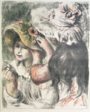 Pierre-Auguste Renoir (French, 1841-1919). Pinning the Hat (Le Chapeau épinglé), ca. 1898. Lithograph on laid paper, 23 5/8 x 19 3/16 in. (60 x 48.8 cm). Brooklyn Museum, Ella C. Woodward Memorial Fund, 41.1090