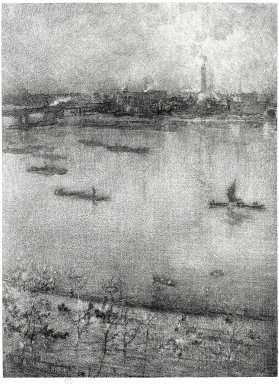 James Abbott McNeill Whistler (American, 1834-1903). The Thames, 1896. Linotint on paper, Sheet: 12 7/16 x 8 1/2 in. (31.6 x 21.6 cm). Brooklyn Museum, Gift of Harold K. Hochschild, 41.1115