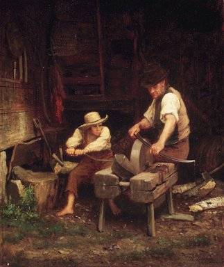 Eastman Johnson (American, 1824-1906). Sharpening the Scythe, ca. 1865. Oil, 15 7/16 x 13in. (39.2 x 33cm). Brooklyn Museum, Gift of Mr. and Mrs. H. Edward Dreier, 41.1191