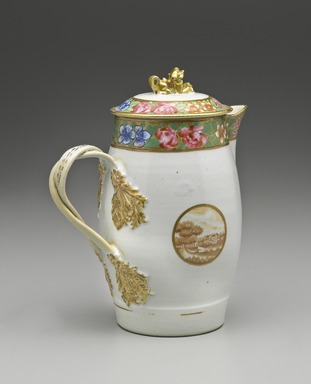 Jug, 1800-1810. Porcelain, Height: 10 1/4 in. (26 cm). Brooklyn Museum, Gift of the Wyckoff Family, 41.1212a-b. Creative Commons-BY
