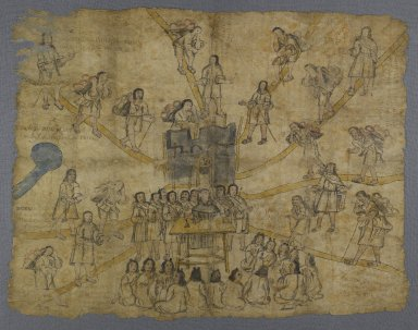 Nahuatl. Codex San Pedro Atlapolco, 18th century. Ink and watercolor on amate paper, 30 5/8 x 38 5/16 in. (77.8 x 97.3 cm). Brooklyn Museum, Ella C. Woodward Memorial Fund, 41.1249. Creative Commons-BY