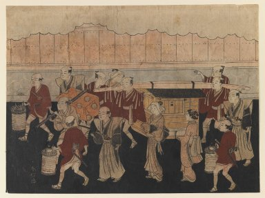 Suzuki Harunobu (Japanese, 1724-1770). The Bride's Trip to her Husband's House, from The Marriage Ceremonies, ca. 1768. Woodblock color print, 8 1/16 x 10 7/8 in. (20.5 x 27.4 cm). Brooklyn Museum, Gift of Mrs. Horace O. Havemeyer, 41.1264