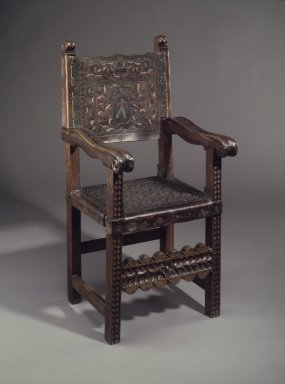 Friars armchair, 18th century. Wood; polychromed leather, 43 1/2 x 21 1/2 x 18 1/2 in. Brooklyn Museum, Museum Expedition 1941, Frank L. Babbott Fund, 41.1273.9. Creative Commons-BY