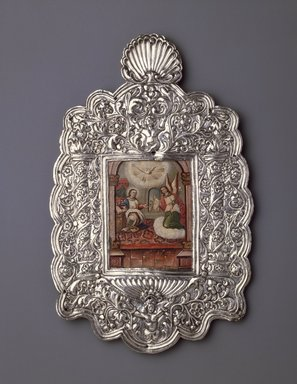 The Annunciation, 18th century. Oil on paper mouinted on copper plate (painting); silver on wood core (frame), 11 7/8 x 7 1/2 in. (30.2 x 19.1 cm). Brooklyn Museum, Museum Expedition 1941, Frank L. Babbott Fund, 41.1275.13