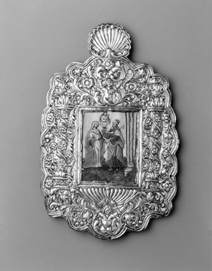The Meeting of Joachim and Anna, 18th century. Oil on paper mounted on copper plate (painting); silver on wood core (frame), frame: 11 7/8 x 7 1/2 x 1/2 in. (30.2 x 19.1 x 1.3 cm). Brooklyn Museum, Museum Expedition 1941, Frank L. Babbott Fund, 41.1275.14