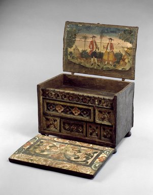 Writing Cabinet (Escritorio), late 18th-early 19th century. Wood, leather, pigments, and iron fittings, 21 x 21 x 13 in. (53.3 x 53.3 x 33 cm). Brooklyn Museum, Museum Expedition 1941, Frank L. Babbott Fund, 41.1275.167. Creative Commons-BY