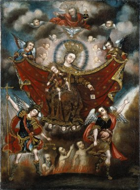Circle of Diego Quispe Tito (Peruvian (Cuzco), 1611-1681). Virgin of Carmel Saving Souls in Purgatory, late 17th century. Oil on canvas, 41 x 29 in. (104.1 x 73.7 cm). Brooklyn Museum, Museum Expedition 1941, Frank L. Babbott Fund, 41.1275.178