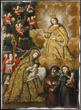 Circle of Mauricio García. The Virgin of Mercy with Three Saints, mid-18th century. Oil on canvas, 37 5/8 x 26 5/8 in.  (95.6 x 67.6 cm). Brooklyn Museum, Museum Expedition 1941, Frank L. Babbott Fund, 41.1275.181