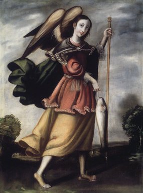 Archangel Raphael, late 17th or early 18th century. Oil on burlap, 32 1/4 x 24 1/8in. (81.9 x 61.3cm). Brooklyn Museum, Museum Expedition 1941, Frank L. Babbott Fund, 41.1275.187