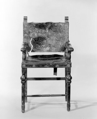 Armchair, 18th century. Spanish cedar, embossed and painted leather, 47 1/2 x 26 1/4 x 20 1/4in. (120.7 x 66.7 x 51.4cm). Brooklyn Museum, Museum Expedition 1941, Frank L. Babbott Fund, 41.1275.25. Creative Commons-BY