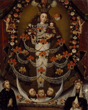 Virgin of Pomata with St. Nicholas Tolentino and St. Rose of Lima, 1700-1750. Oil on canvas, 26 x 21 in. (66 x 53.3 cm). Brooklyn Museum, Museum Expedition 1941, Frank L. Babbott Fund, 41.1275.400