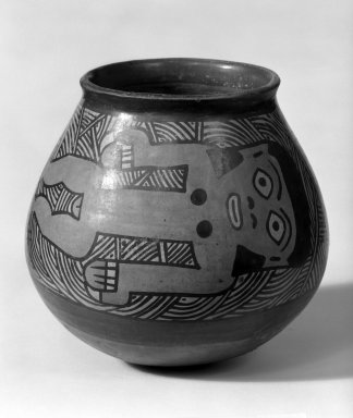 Nasca. Jar with Swimmers, 1-350 C.E. Clay, slips, 4 5/8 x 4 3/4 in.  (11.7 x 12.1 cm). Brooklyn Museum, Museum Expedition 1941, Frank L. Babbott Fund, 41.1275.56. Creative Commons-BY