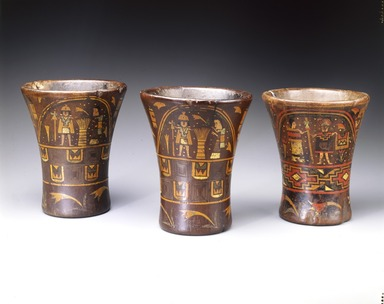 Inca. Kero Cup, 16th century. Wood; lacquered, 7 3/8 x 6 15/16in. (18.7 x 17.6cm). Brooklyn Museum, Museum Expedition 1941, Frank L. Babbott Fund, 41.1275.5. Creative Commons-BY