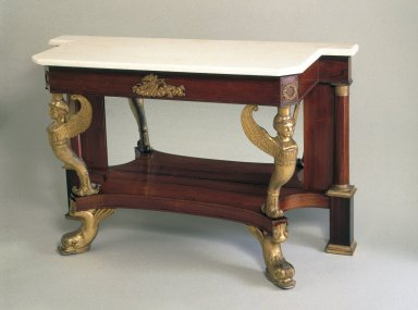 Charles-Honoré Lannuier (American, born France, 1779-1819). Pier Table, ca. 1815-1819. Marble, rosewood, ormolu, gesso, 36 x 55 7/8 x 21 1/4 in. (91.4 x 141.9 x 54.6 cm). Brooklyn Museum, Gift of the Pierrepont Family, 41.1. Creative Commons-BY