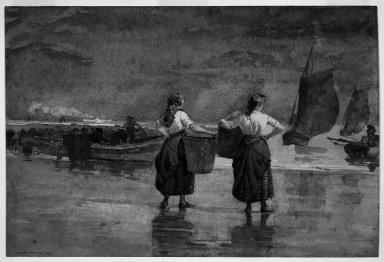 Winslow Homer (American, 1836-1910). Fisher Girls on the Beach, Cullercoats, 1881. Watercolor, 13 1/8 x 19 3/8 in. (33.4 x 49.3 cm). Brooklyn Museum, Museum Collection Fund, 41.219