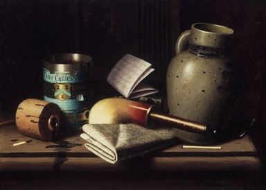 William Michael Harnett (American, 1848-1892). Still Life with Three Castles Tobacco, 1880. Oil on canvas, 10 3/4 x 15 in. (27.3 x 38.1 cm). Brooklyn Museum, Dick S. Ramsay Fund, 41.221
