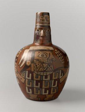 Wari. Face Neck Jar, 650-1000 C.E. Ceramic, slip, pigments, 7 x 4 1/2 x 4 1/2 in. (17.8 x 11.4 x 11.4 cm). Brooklyn Museum, Henry L. Batterman Fund, 41.418. Creative Commons-BY