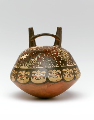 Nasca. Double Spout and Bridge Bottle, 100 B.C.E.-600 C.E. Ceramic, pigment, 8 x 8 x 8 in. (20.3 x 20.3 x 20.3 cm). Brooklyn Museum, Henry L. Batterman Fund, 41.426. Creative Commons-BY