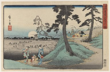 Utagawa Hiroshige (Ando) (Japanese, 1797-1858). Enjoying the Insect at Dokanzana in Moon Night (From Toto  Meisho Series or View of Edo Series), 19th century. Woodblock color print, 8 3/4 x 13 7/16 in. (22.2 x 34.2 cm). Brooklyn Museum, Gift of Louis V. Ledoux, 41.469