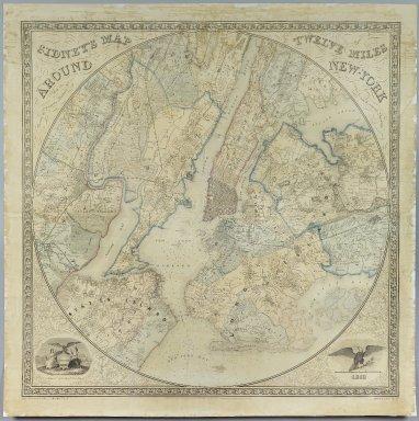 Norman Friend (born Denmark ca. 1815, active Philadelphia 1850-1871). Sidney's Map Twelve Miles Around New York, 1849. Chromo lithograph, 35 5/8 x 35 1/16 in. (90.5 x 89 cm). Brooklyn Museum, Gift of Daniel Berry Austin, 41.507