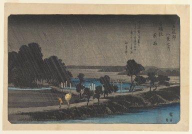 Utagawa Hiroshige (Ando) (Japanese, 1797-1858). Azumi no Mori Yau, Evening Rain at Azumi no Mori, ca. 1838. Woodblock color print, 8 3/4 x 13 13/16 in. (22.2 x 35.1 cm). Brooklyn Museum, Frank L. Babbott Fund, 41.604