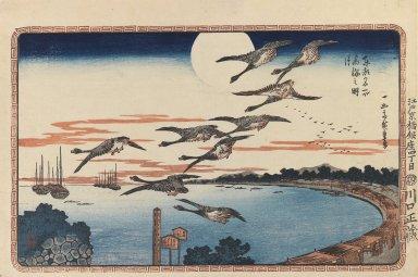 Utagawa Hiroshige (Ando) (Japanese, 1797-1858). Full Moon at Takanawa (Takanawa no Meigetsu), from Celebrated Places in the Eastern Capital (Toto Meisho), ca. 1831. Woodblock color print, Sheet: 10 3/16 x 15 3/16 in. (25.8 x 38.6 cm). Brooklyn Museum, Frank L. Babbott Fund, 41.605