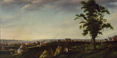 Francis Guy (American, 1760-1820). View of Baltimore from Chapel Hill, 1802-1803. Oil on canvas, 47 7/16 x 93 9/16 in., 65.5 lb. (120.5 x 237.6 cm, 29.71kg). Brooklyn Museum, Gift of George Dobbin Brown, 41.624