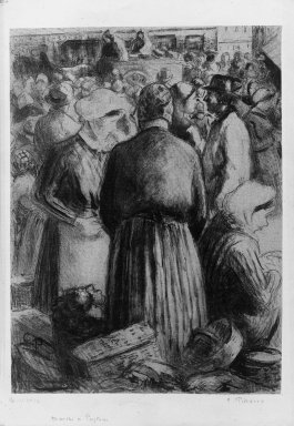 Camille Jacob Pissarro (French, born Danish West Indies, 1830-1903). Market at Pontoise (Marché à Pontoise), 1895. Lithograph on chine colle paper, 11 15/16 x 8 3/4 in. (30.4 x 22.3 cm). Brooklyn Museum, Dick S. Ramsay Fund, 41.687
