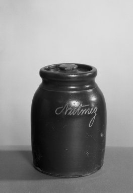 American. Nutmeg Jar and Cover. Earthenware Brooklyn Museum, Gift of Charles H. Wilmot, 41.696a-b. Creative Commons-BY