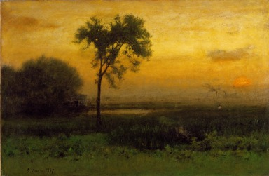 George Inness (American, 1825-1894). Sunrise, 1887. Oil on canvas, 30 1/16 x 45 1/16 in. (76.3 x 114.5 cm). Brooklyn Museum, Bequest of Mrs. William A. Putnam, 41.775