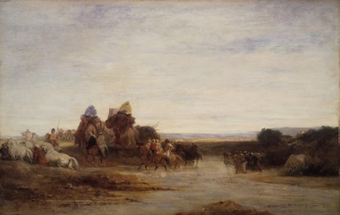 Eugène Fromentin (French, 1820-1876). Crossing the Ford, ca. 1860. Oil on panel, 13 9/16 x 21 3/16 in.  (34.4 x 53.8 cm). Brooklyn Museum, Bequest of Mrs. William A. Putnam, 41.781