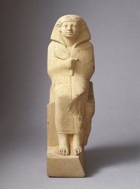 Statuette of a Cloaked Figure, ca. 1836-1759 B.C.E. Limestone, painted, 9 1/16 x 5 3/8 in. (23 x 13.7 cm). Brooklyn Museum, Charles Edwin Wilbour Fund, 41.83. Creative Commons-BY