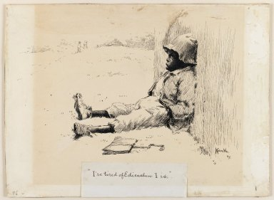 Edward Kemble (American, 1861-1933). I'se Tired of Edicashun I Is, 1897. Pen and ink on paperboard, sheet: 10 1/16 x 13 11/16 in. (25.6 x 34.8 cm). Brooklyn Museum, Gift of Walter H. Crittenden, 41.84